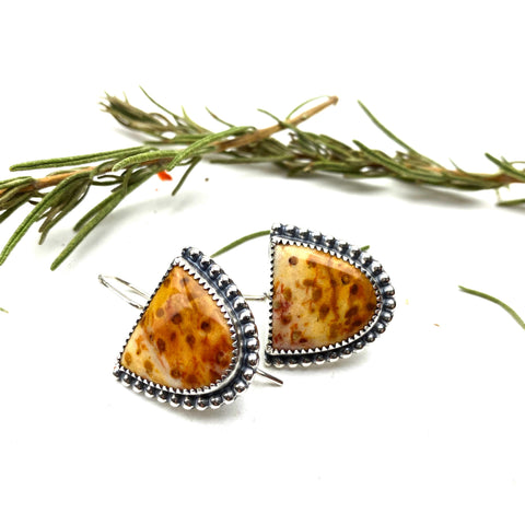 Palmwood Jasper Half Moon Earrings