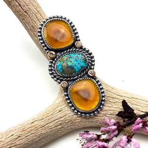 Carnelian and Turquoise Statement Ring - Meltdown Studio Jewelry