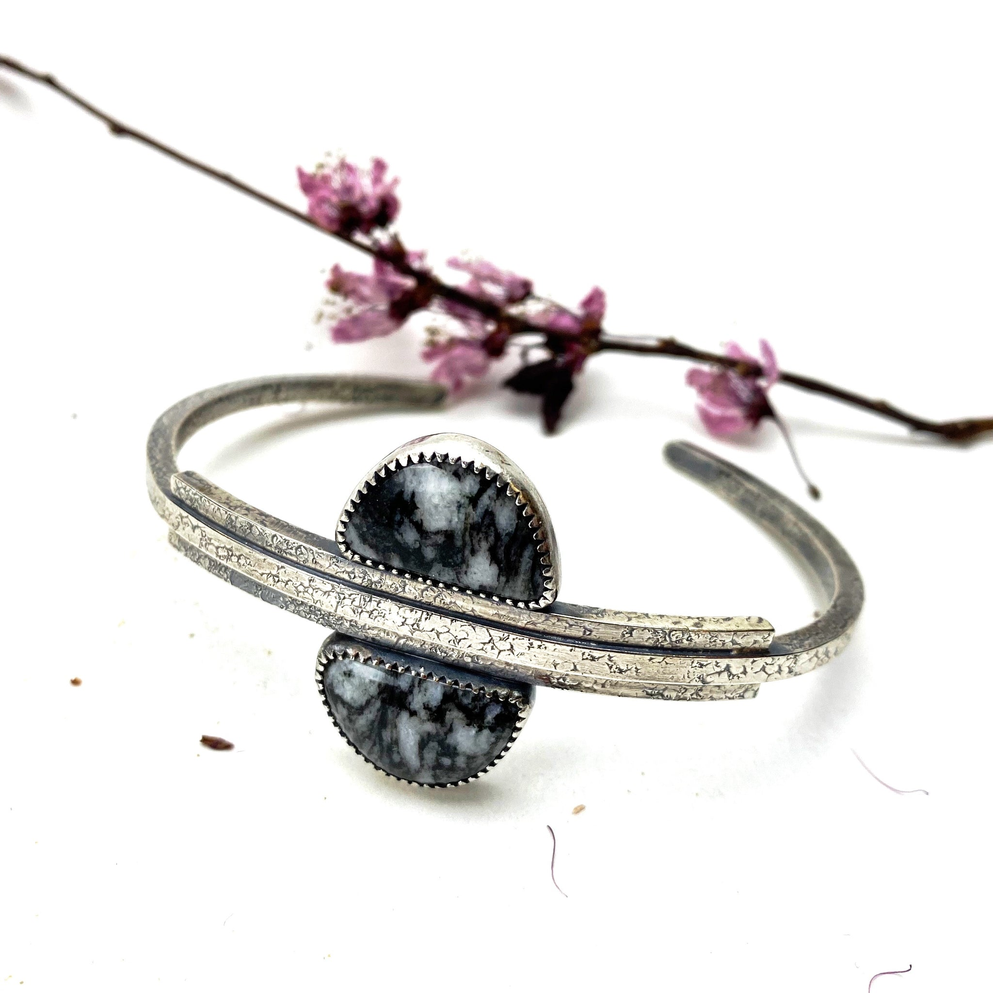 Black Feathered Jasper Meridian Cuff - Meltdown Studio Jewelry