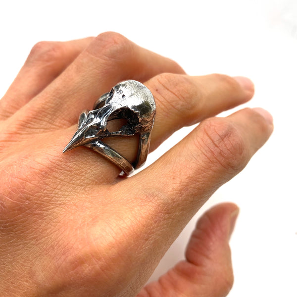 Sterling Silver Finch Skull Ring