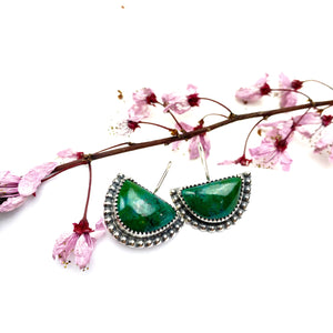 Chrysocolla Half Moon Earrings - Meltdown Studio Jewelry