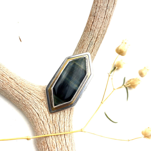 Blue Tigers Eye Point Statement Ring