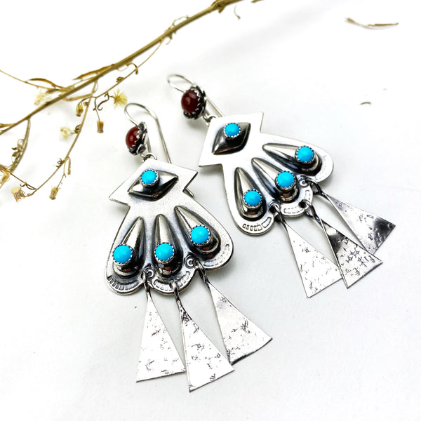 Turquoise Concho Sterling Silver Earrings