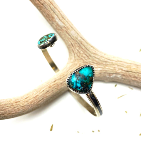 Double Turquoise Cuff Bracelet - Meltdown Studio Jewelry