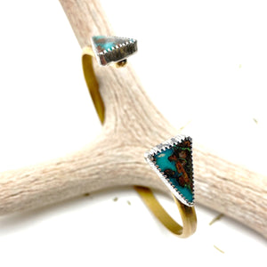 Double Chrysocolla Cuff Bracelet - Meltdown Studio Jewelry