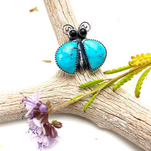 Turquoise Bug Ring ((reserved for Phyllis))