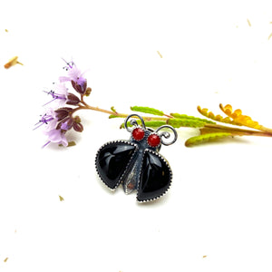 Black Onyx Bug Pin ((reserved for Phyllis))