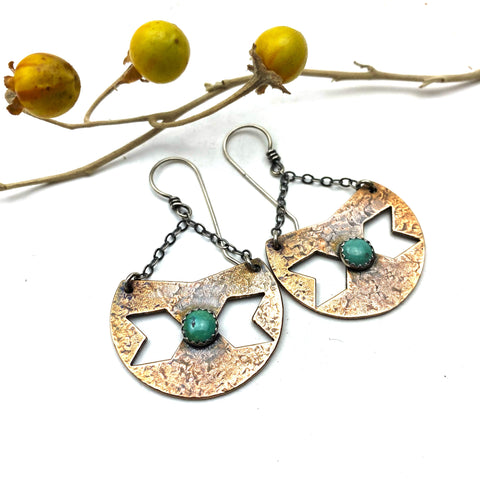 Bronze Centaury Shield Earrings