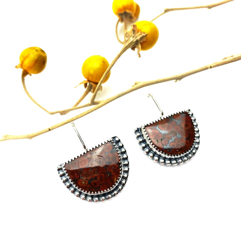 Jasper Half Moon Earrings