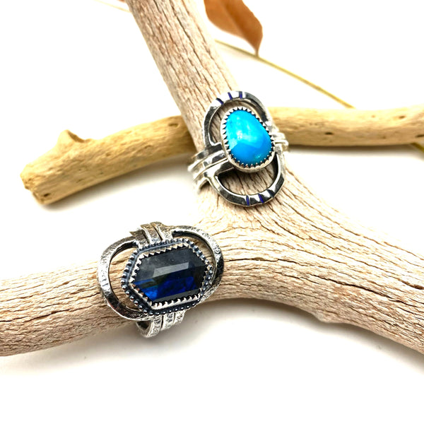 Double Rainbow Labradorite Stack Ring Set