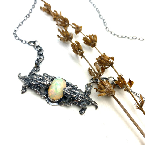 Fire Opal Horned Toad Necklace