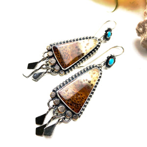 Palmwood Turquoise Earrings ((Reserved for Erica)) - Meltdown Studio Jewelry