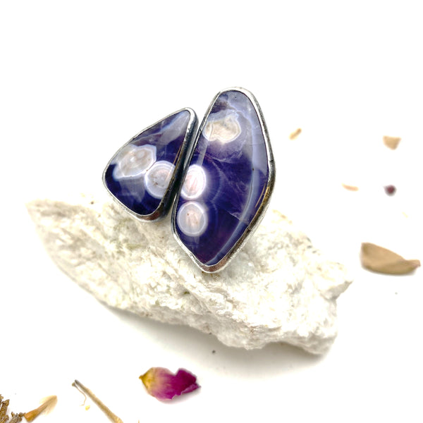 Double Amethyst Agate Statement Ring