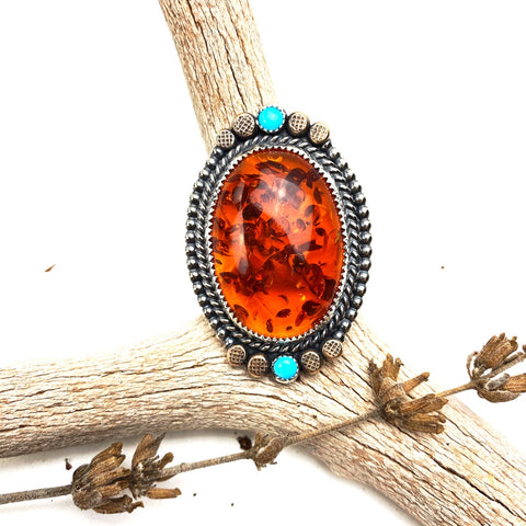 Amber and Turquoise Ring - Meltdown Studio Jewelry