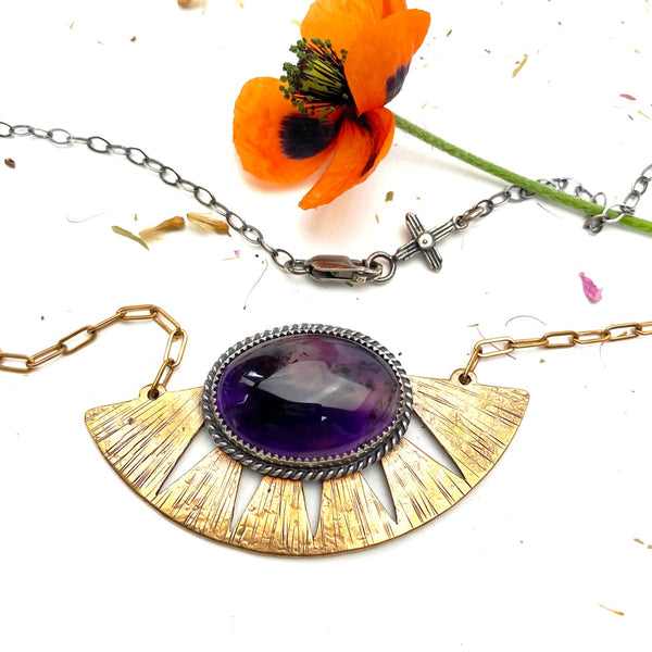 Amethyst Shield Necklace - Meltdown Studio Jewelry