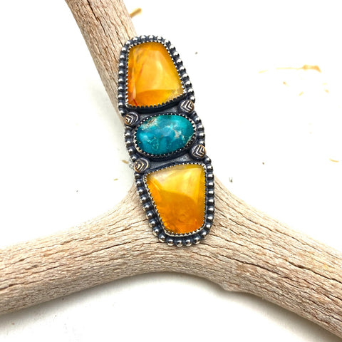 Carnelian and Turquoise Statement Ring