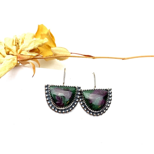 Ruby Zoisite Half Moon Earrings