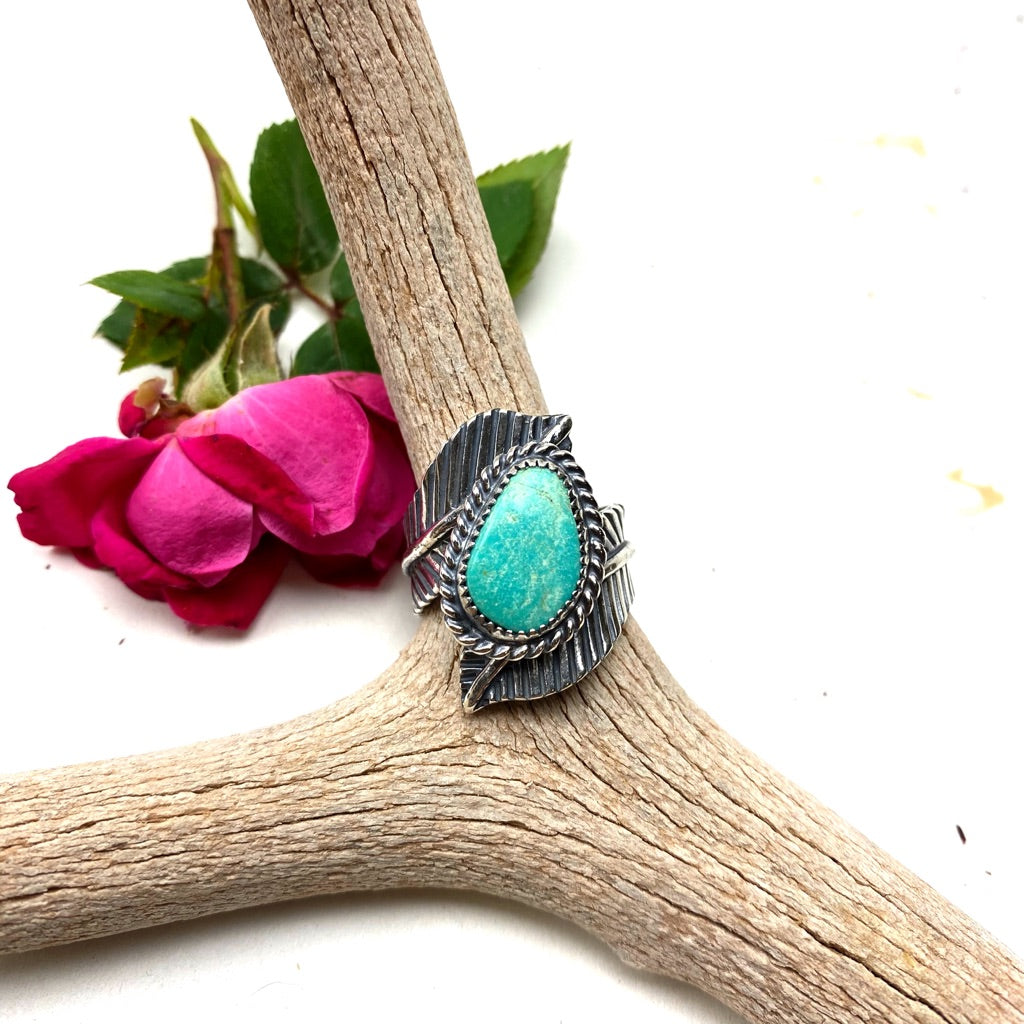 Turquoise Double Feather Ring