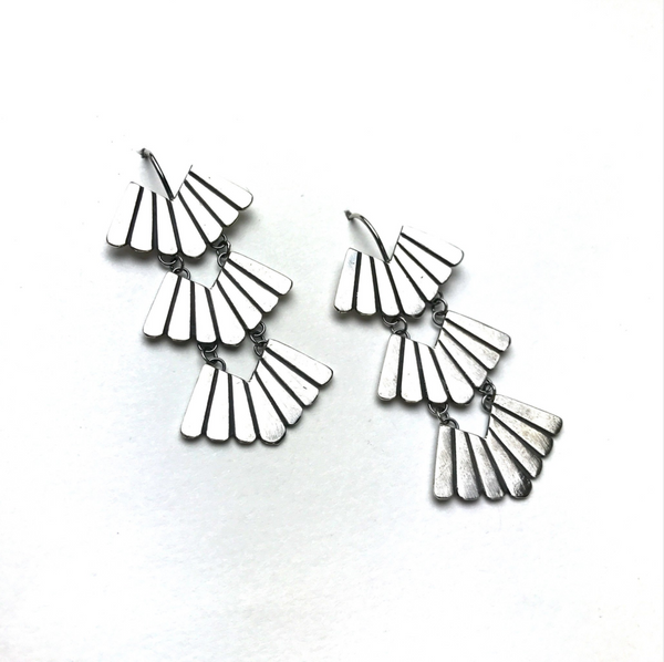 Triple Feather Earrings - Meltdown Studio Jewelry