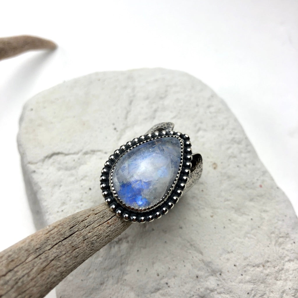 Rainbow Moonstone Ring ((reserved for Lucas - Meltdown Studio Jewelry