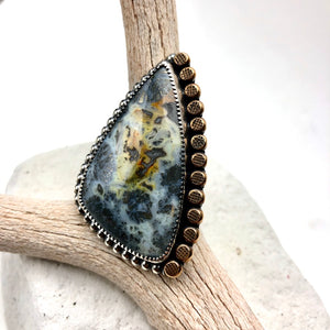 Marcasite Agate Ring ((reserved for Lucas)) - Meltdown Studio Jewelry