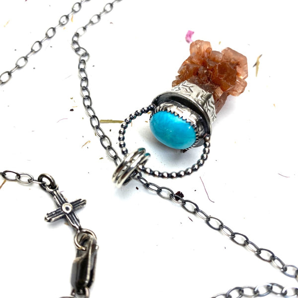 Aragonite Crystal Pendulum Necklace - Meltdown Studio Jewelry