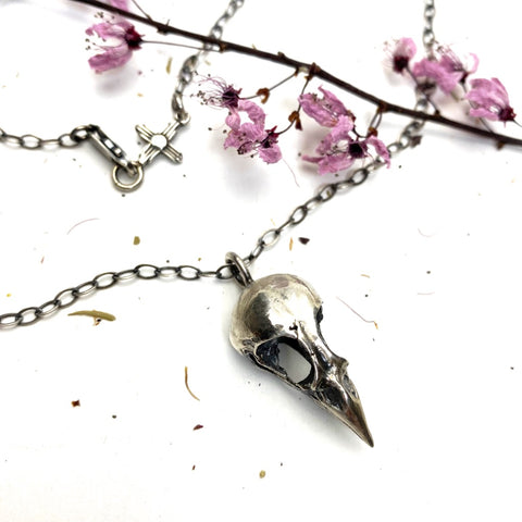 Sterling Silver Finch Skull Necklace - Meltdown Studio Jewelry