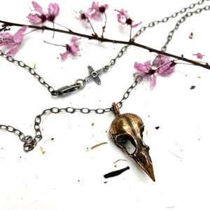 Bronze Finch Skull Necklace - Meltdown Studio Jewelry