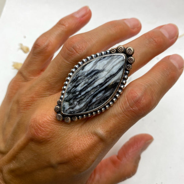 Black Feathered Jasper Ring