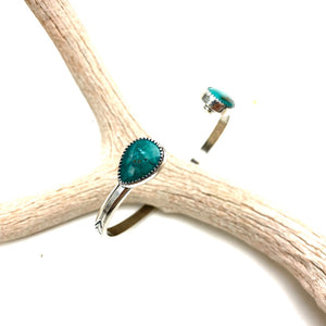 Double Turquoise Cuff Sterling Silver Bracelet