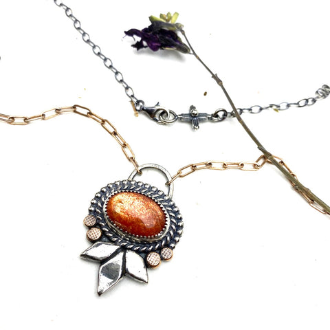 Sunstone Sterling Silver Necklace