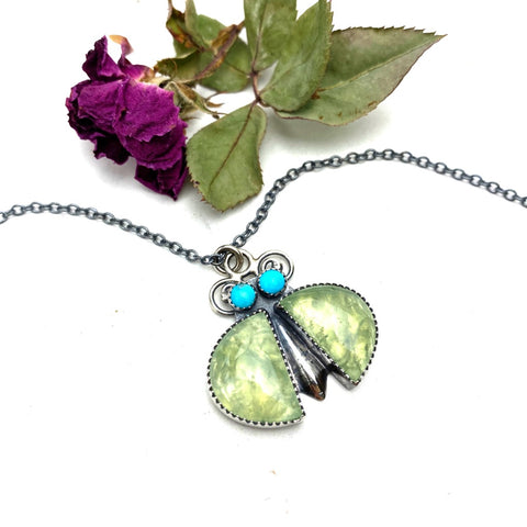 Prehnite Bug Necklace