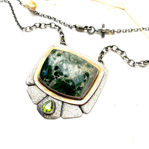 Variscite and Peridot Shield Necklace