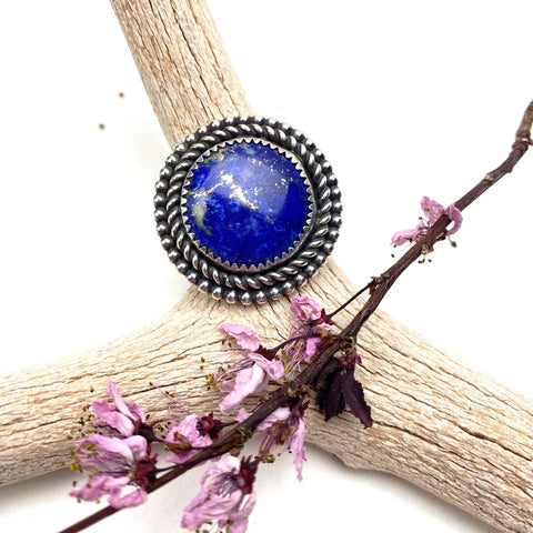 Lapis Circle Ring - Meltdown Studio Jewelry