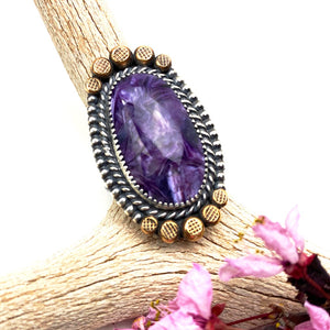 Charoite Statement Sterling Silver Ring
