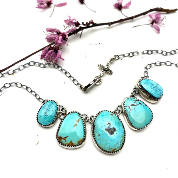 Linked Turquoise Necklace - Meltdown Studio Jewelry