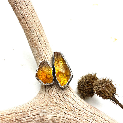 Double Citrine Ring