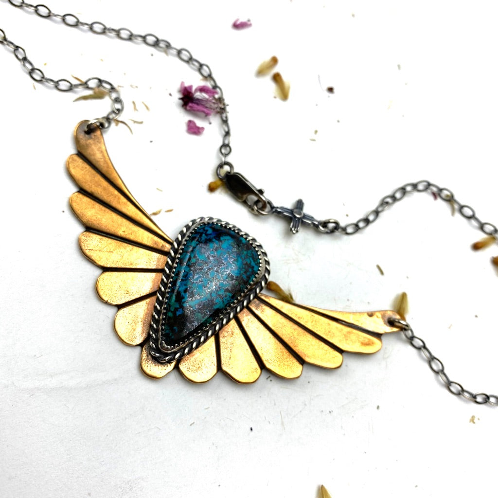 Azurite Winged Warrior Necklace - Meltdown Studio Jewelry