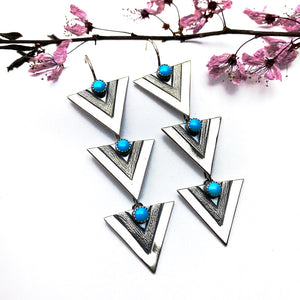 Silver Triple Apex Earrings
