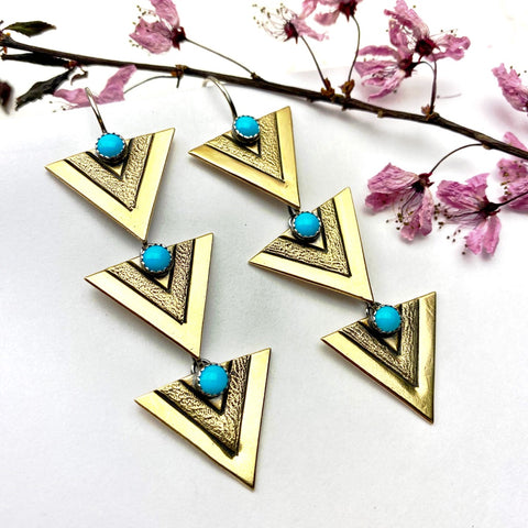 Brass Triple Apex Earrings