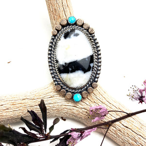 White Buffalo and Turquoise Ring - Meltdown Studio Jewelry