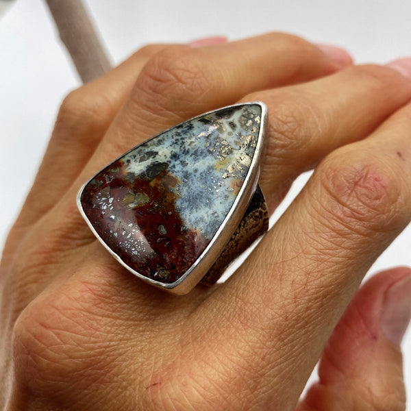 Marcasite Agate Ring - Meltdown Studio Jewelry