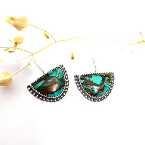 Turquoise Half Moon Earrings