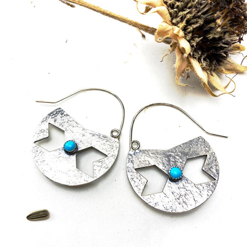 Centaury Shield Sterling Silver Earrings