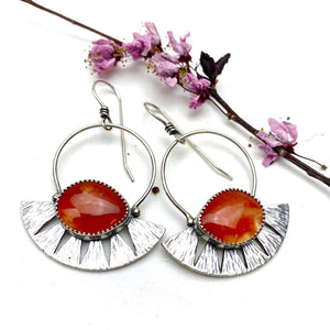 Carnelian Juniper Hoops - Meltdown Studio Jewelry