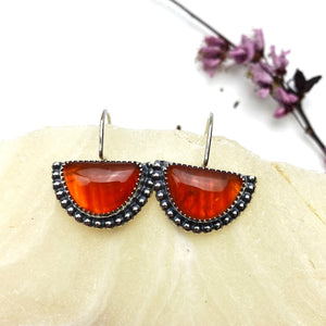 Carnelian Half Moon Earrings - Meltdown Studio Jewelry