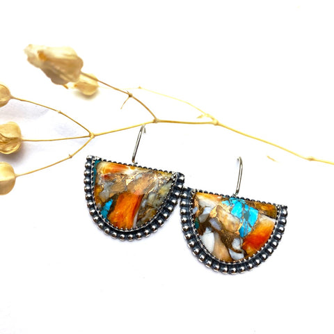 Spiney Oyster Half Moon Earrings - reserved for Victoria