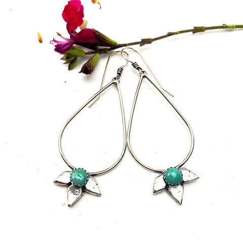 Turquoise Agave Hoops Sterling Silver Earrings