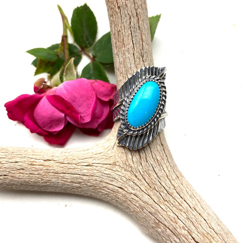 Turquoise Double Feather Sterling Silver Ring