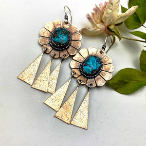 Turquoise Concho Earrings ((Reserved for Jill)) - Meltdown Studio Jewelry